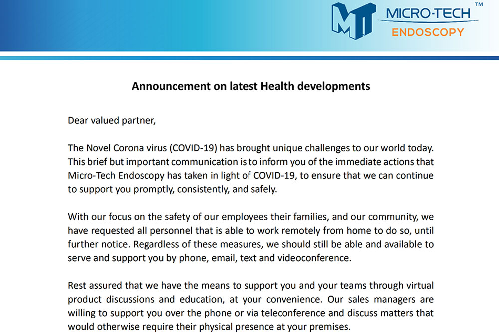 Announcement On Latest Health Developments