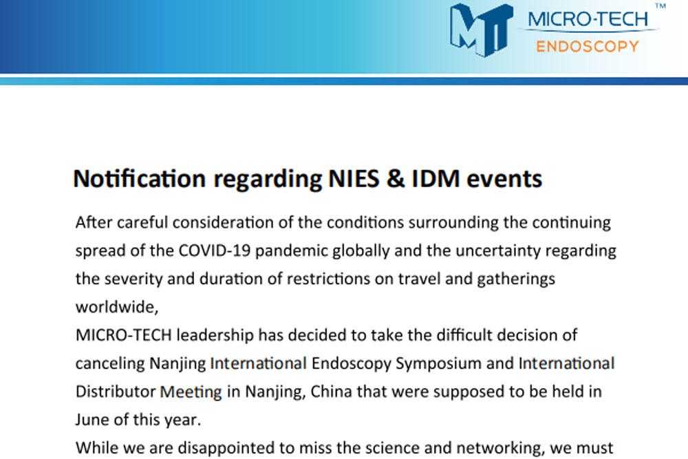 Notification Regarding NIES & IDM Events